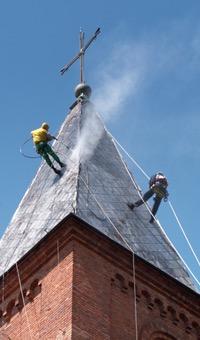 Reinigen leien dak